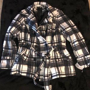 Black and white plaid women's button up coat